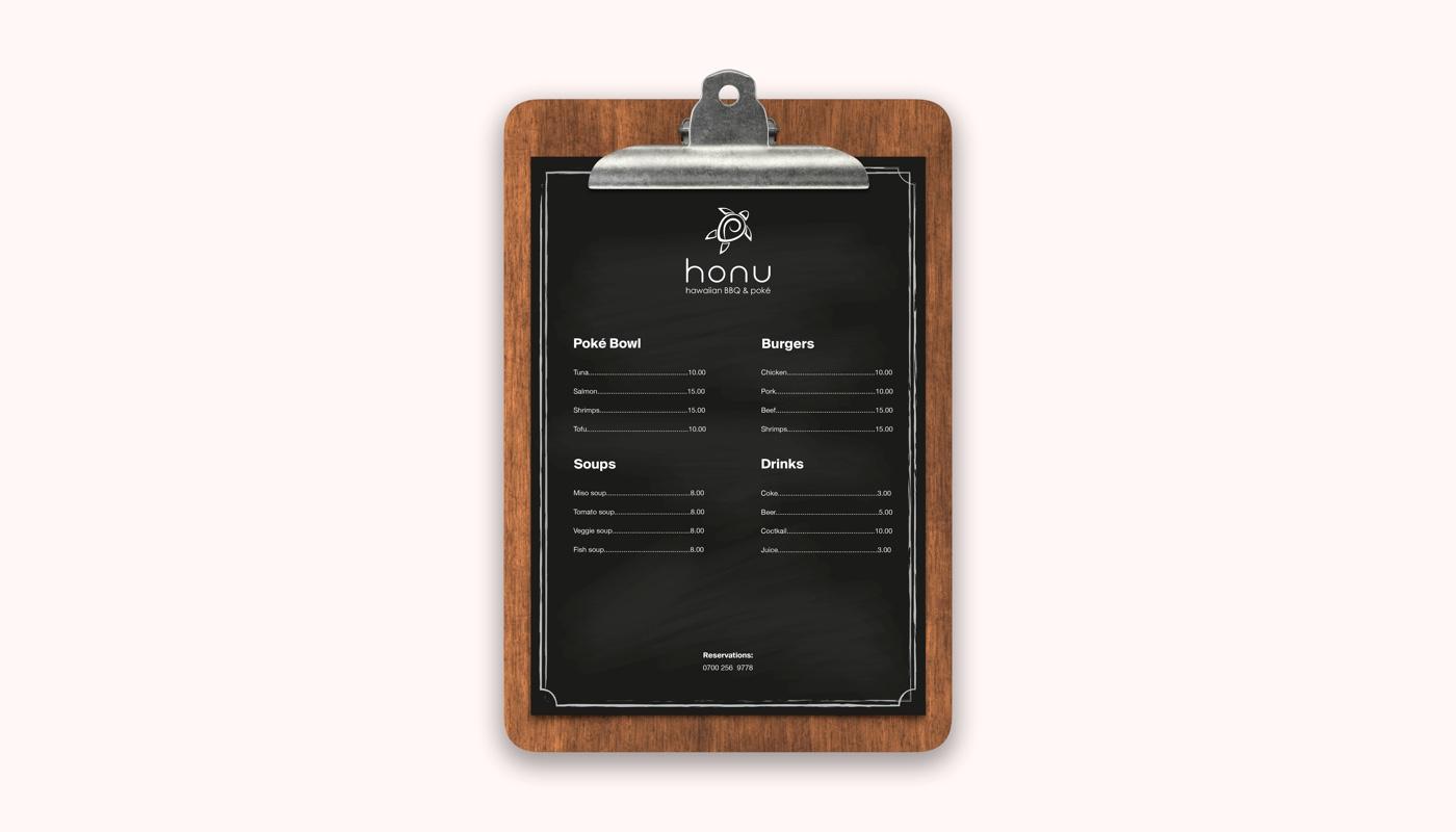 Magicflow Studio | Honu BBQ Branding Menu design